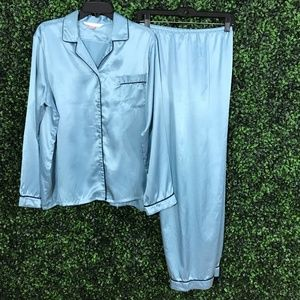 VICTORIA'S SECRET Blue Silky PJ Lounge Pajama SET
